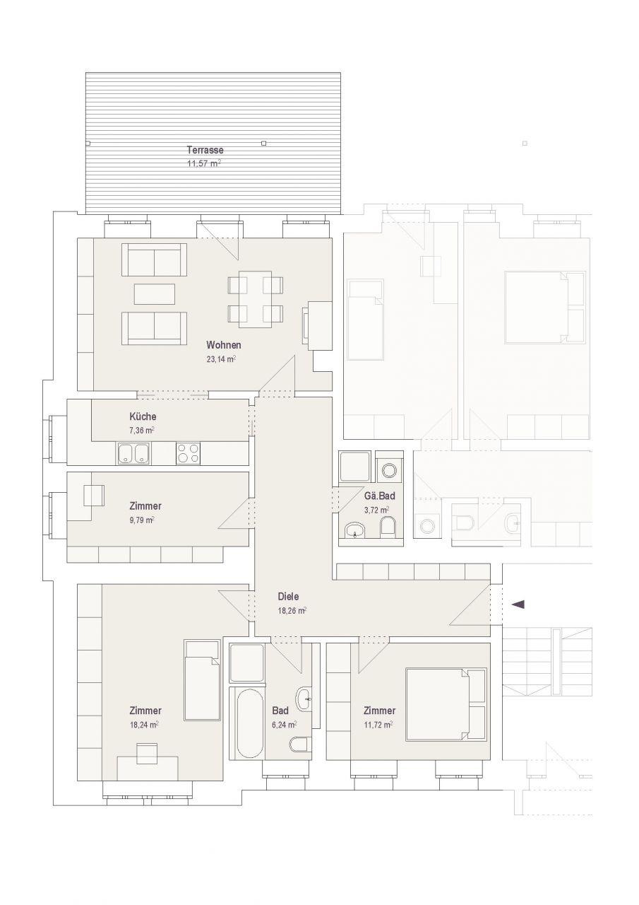 Wohnung 1 erdgeschoss 4 zimmer 103 qm 2cm for 4 zimmer wohnung oldenburg
